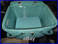 Longaberger Large Aqua Picnic Basket Set with Protector and Aqua Riser