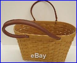 Longaberger Large Boardwalk Basket Set + Pro + Leather Handles New Retired