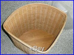 Longaberger Large Corner Laundry Hamper Basket Complete Set Lid Protector Liner