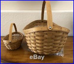 Longaberger Large & Little Crocus Baskets, Protector, Papers & Handkerchief Set