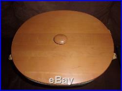 Longaberger Large Oval Waste Basket Set with WoodCrafts Lid Sage