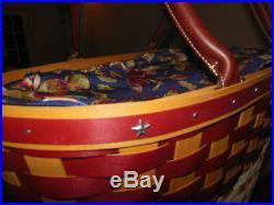 Longaberger Large Red/White/Blue Boardwalk Basket Set Protector, Early Harvest