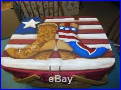 Longaberger Lg Picnic Basket Set Painted Lid Red/Wt/Blue Americana Cowboy Boots