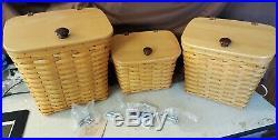 Longaberger Mail Box Basket Set of 3 Large, Medium & Small With Protectors