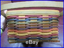Longaberger Muti Color, Multi Stripe Cake Basket Set with NEW Lid