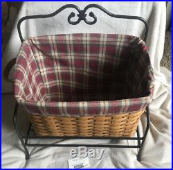 Longaberger NEWSPAPER Basket Combo Set- Wrought Iron Stand, liner & protector