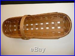 Longaberger New Baguette Basket Set Divided Protector Orchard Plaid Park Liner