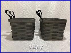 Longaberger PEWTER Set of TWO SMALL HANGING Baskets BLACK LOOPS Mothers Day NWT