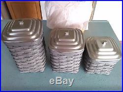 Longaberger Pewter Canister Basket set with metal lids & lock-tite protectors NEW