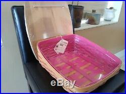 Longaberger Pink Inside Tapered Paper Tray Basket Set withlid set MINT FREE SHIP