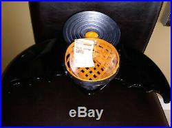 Longaberger RARE Small Oval Bat Basket Set & Bat Pottery Dish MINT FREE SHIPPING