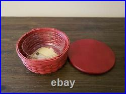 Longaberger ROUND KEEPING BASKET SET Lot of 5 with Protectors & Lids NEW