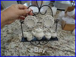 Longaberger Rare Miniature Tea Set Tea Pot Cream Sugar Wrought Iron Stand