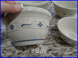 Longaberger Rare Roseville Pottery Bowl Mixing Set Of 4 Classic Blue