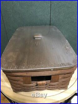 Longaberger Rich Brown Medium Stow Away Basket Set New