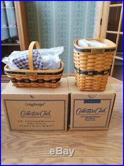 Longaberger Set Of 12 Jw J W Miniature Baskets Lines Protectors Boxes Free Ship