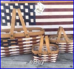 Longaberger Set Of Three Red White Blue Flag Baskets Live, Little Market, Tea
