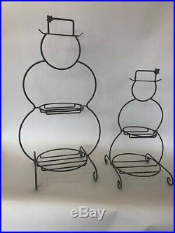 Longaberger Set of 2 Wrought Iron Christmas Snowman Basket Holders