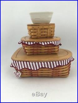 Longaberger Set of 3 Heart Sweetheart Baskets w Lids Little Love Letters Hostess