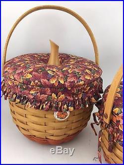 Longaberger Set of 4 Pumpkin Halloween Fall Baskets w Lids Fall Foliage