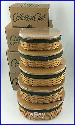 Longaberger Set of 5 Collectors Club Shaker Harmony Baskets w Protector Lids NIB