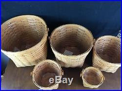 Longaberger Set of 5 Measuring Baskets w Heritage Green Liners Protectors Lids