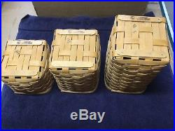 Longaberger Set of Basket Canisters 3 New with Silver Metal Lids RARE SET