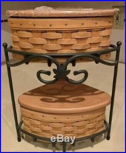 Longaberger Small Corner Basket Wrought Iron Stand 9 Piece SetNice