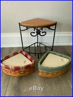 Longaberger Small Corner Basket Wrought Iron Stand Set