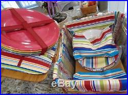 Longaberger Sunny Day Stripe Large Picnic Basket Plates Bowls Rare Complete Set