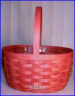 Longaberger Sunset Pink Oval Spring Basket & Protector Set- New-shop Storesale