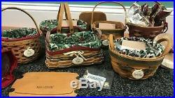 Longaberger Tree Trimming Christmas Basket Set Lot of 6 Baskets Liners