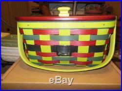 Longaberger Two 2017 Elf Belly Basket Sets Bag It, Medium Key withLid