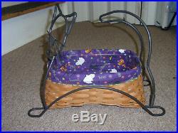 Longaberger WROUGHT IRON 2009 HALLOWEEN BLACK CAT BASKET SET, NEW