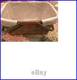 Longaberger Warm Brown Large Market Basket Set with Green Trim