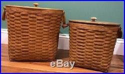 Longaberger Waste Basket Set of 2 Medium and Large Lids Protectors