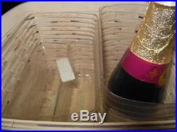 Longaberger White Washed Sip & Snack Basket Set, Protectors and WW Wood Divider