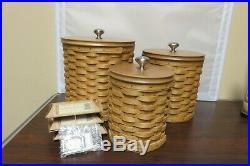 Longaberger Wooden Basket Canister Set of 3 Interior Plastic Insert/Lid/Hang Tag