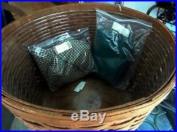 Longaberger Work Around / Pot of Gold BASKET SET + Khaki Check Rich Brown NEW