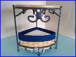 Longaberger Wrought Iron Countertop Corner stand with basket set and wood shelf