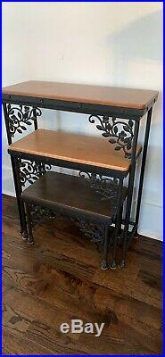 Longaberger Wrought Iron Dogwood Nesting Table Set Of 3 Tables Wood Shelves