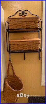 Longaberger Wrought Iron Envelop Rack Set with 3 baskets, protectors, 2 lids
