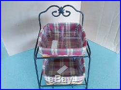 Longaberger Wrought Iron Little Bin desktop Organizer with 2 baskets sets