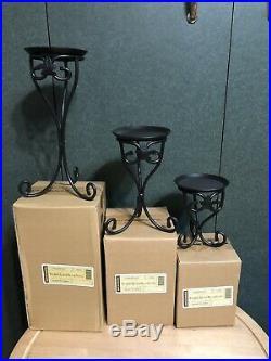 Longaberger Wrought Iron Pillar Candle Stands Set Of 3- New