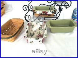 Longaberger Wrought Iron Sleigh 2 Holiday Helper Basket sets with Sage Loaf Dish