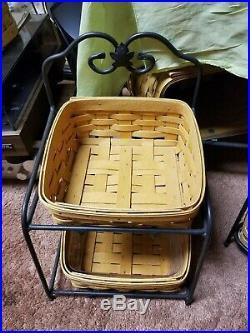 Longaberger Wrought Iron Small Bin Basket set