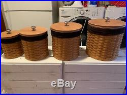 Longaberger basket canister set of 4 with lids and acrylic inserts