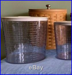 Longaberger canister basket set with acrylic protectors, lids and tags