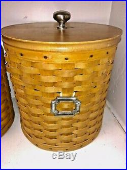 Lot Longaberger Canister Set of 4 With Lidded Protectors, Lids, Garters, 3 Tie Ons