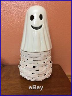 NEW Longaberger 3 Pc SET Boo Topper Basket Liner Halloween Ghost 2013